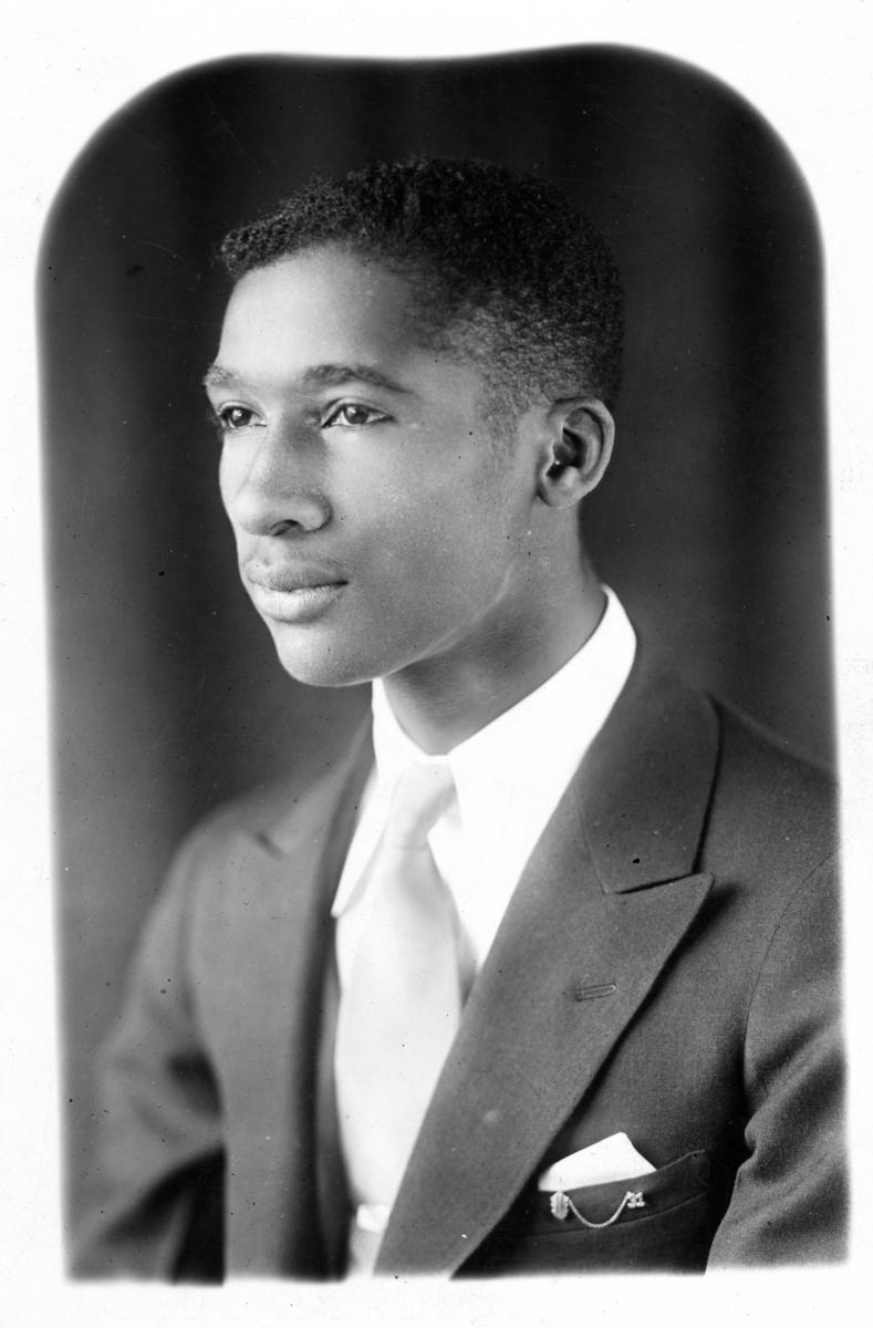 Black-and-white yearbook photo of Lloyd Gaines