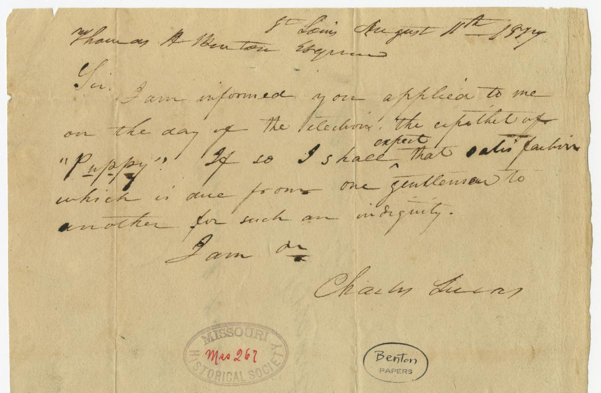 Scan of letter from Charles Lucas to Thomas Hart Benton