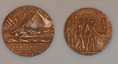 both sides of a medal commemorating the sinking of the Lusitania in 1915