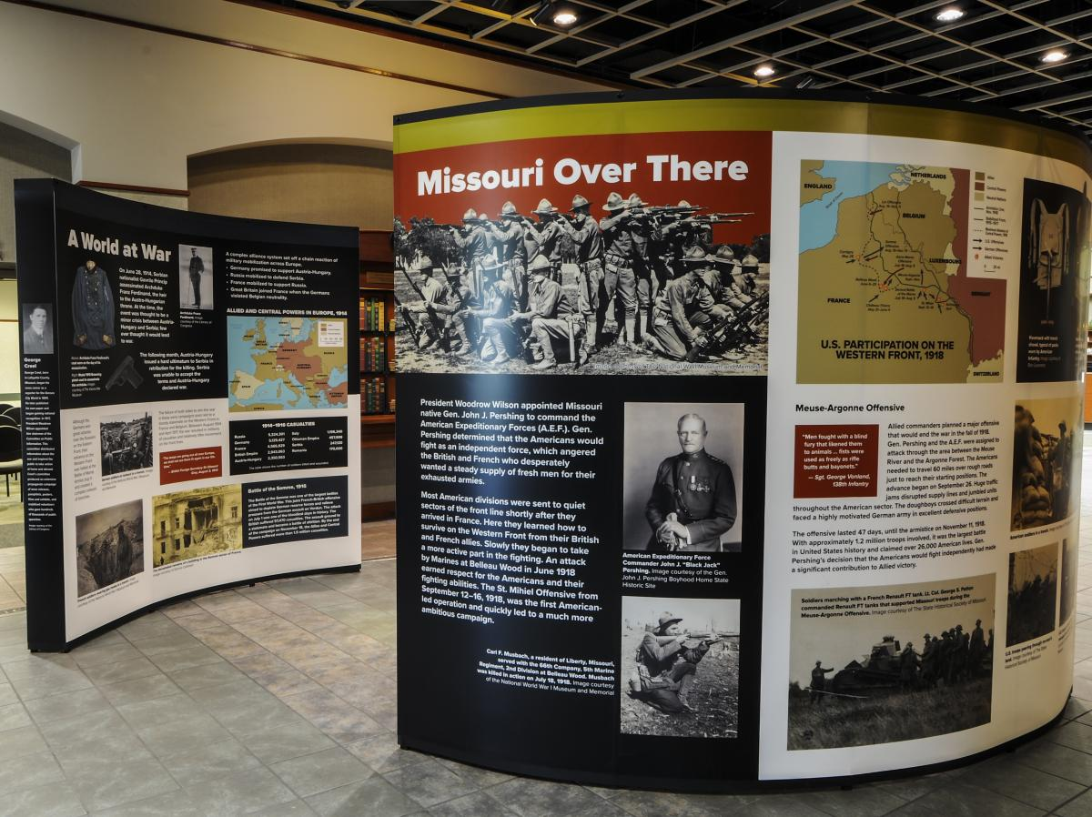 Color photo of panel for Missouri and the Great War traveling exhibit
