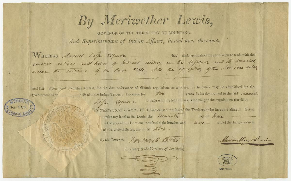 Scan of document signed by Meriwether Lewis during his time as territorial governor