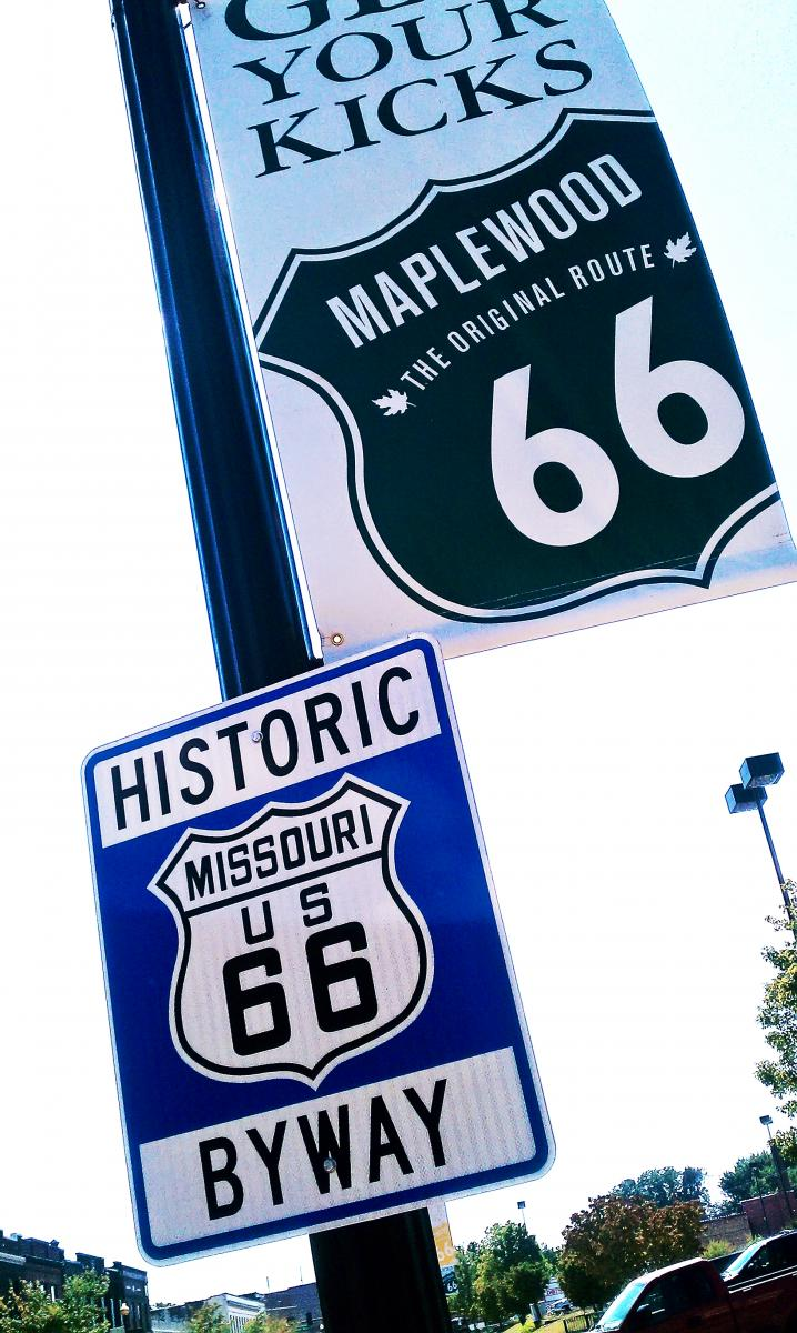 Color photo of Route 66 signs in Maplewood, MO