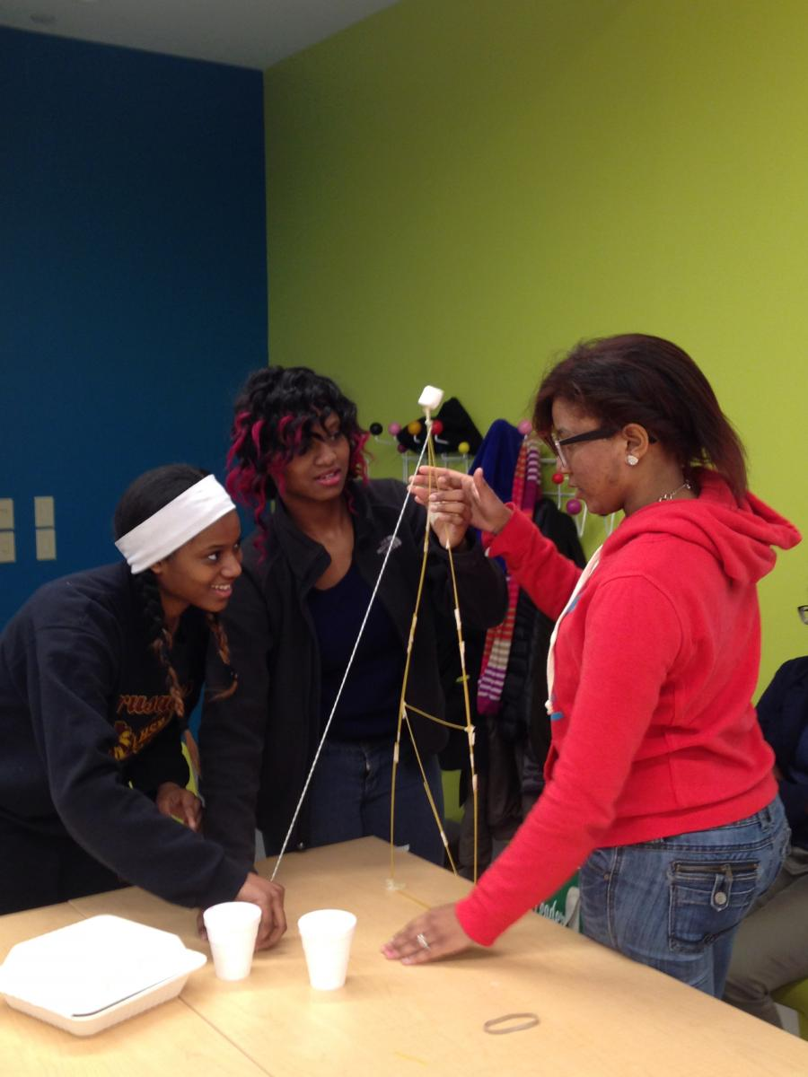Photo of TMH Academy students doing marshmallow challenge