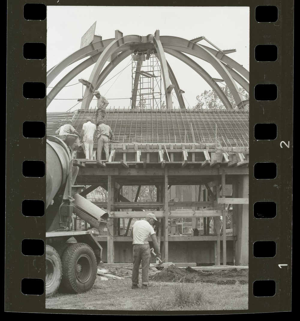 Scan of a negative showing McDonnell Planetarium construction