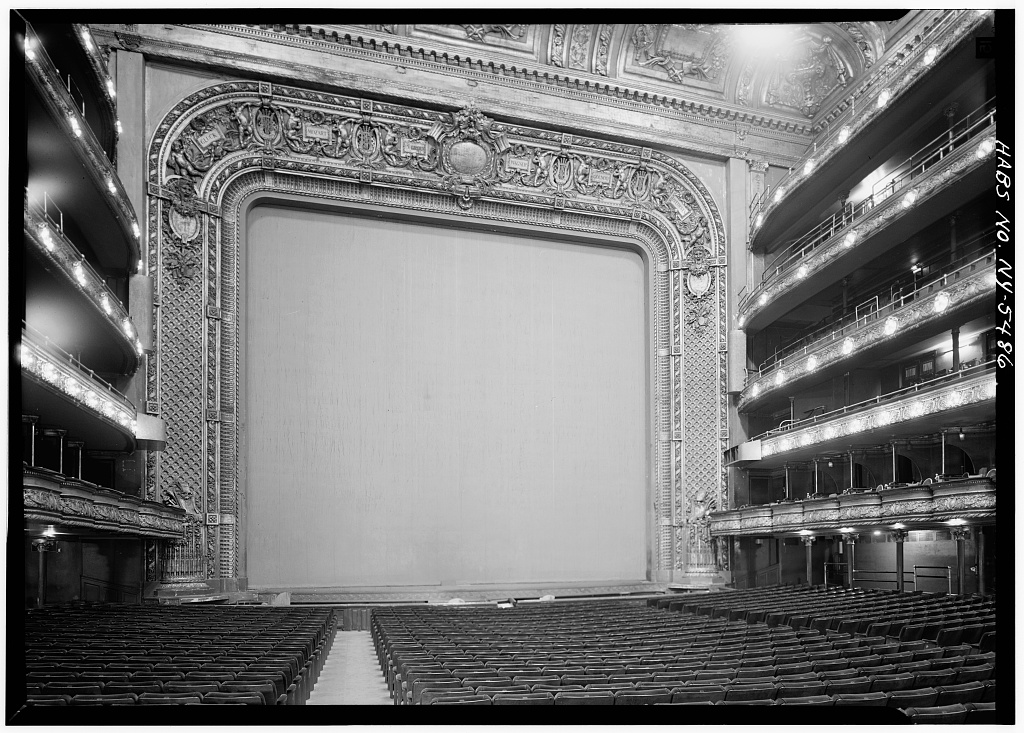 Black-and-white photo of Met Opera House interior as of 1966