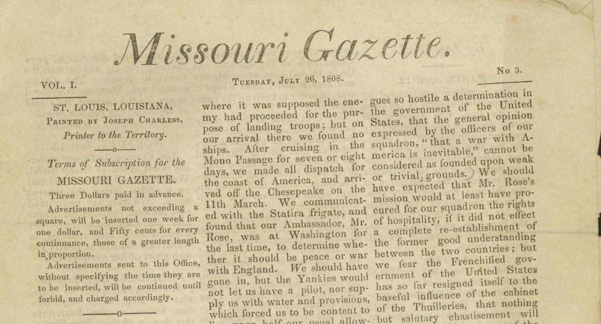 "Portion of the third-ever edition of the ""Missouri Gazette"" newspaper"