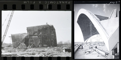 photos of construction of St. Louis Priory Church and Lambert Airport