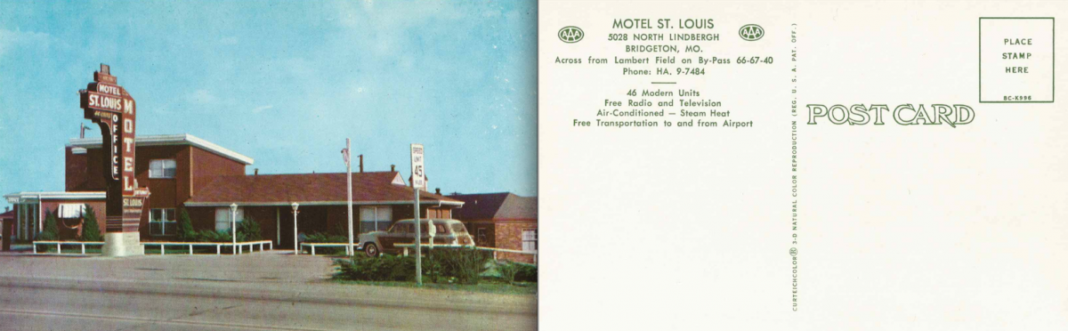 Vintage postcard of the Motel St. Louis