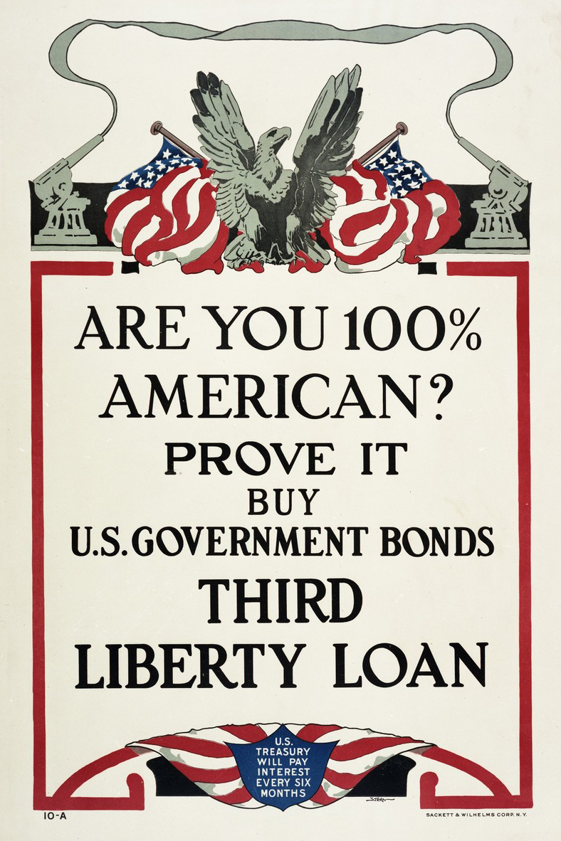 Color scan of WWI propaganda poster promoting purchase of war bonds