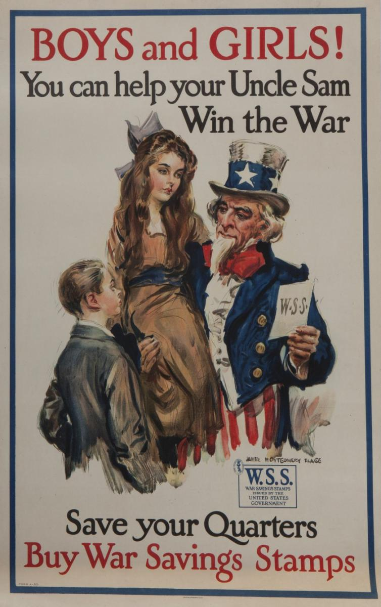 Color scan of WWI propaganda poster encouraging kids to buy war stamps