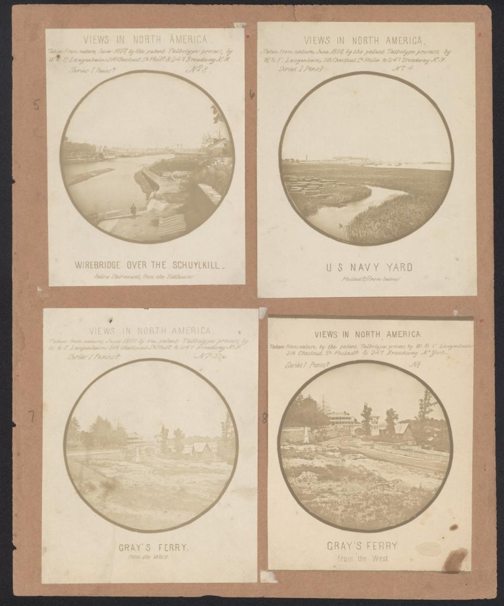 Color scan of page from Langenheim Album featuring four of the Views from North America images