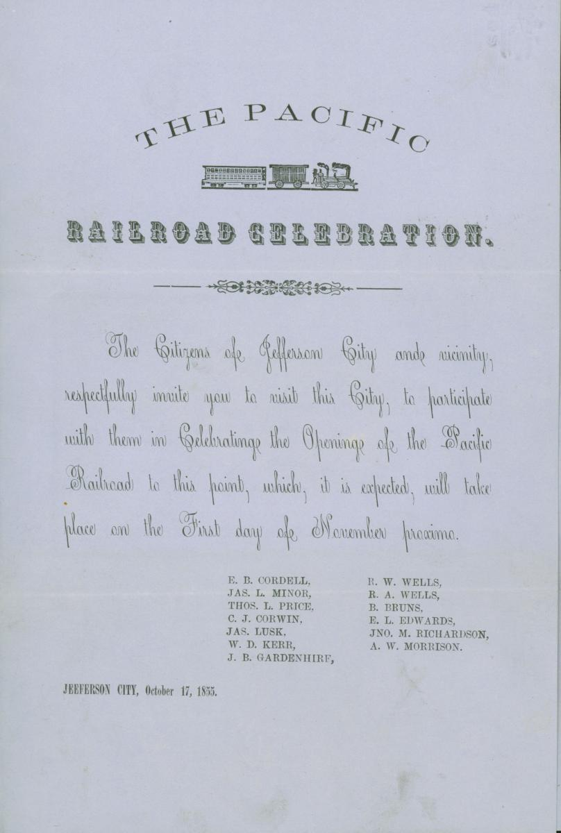 Scan of blue invitation to celebration of the Pacific Railroad opening to Jefferson City