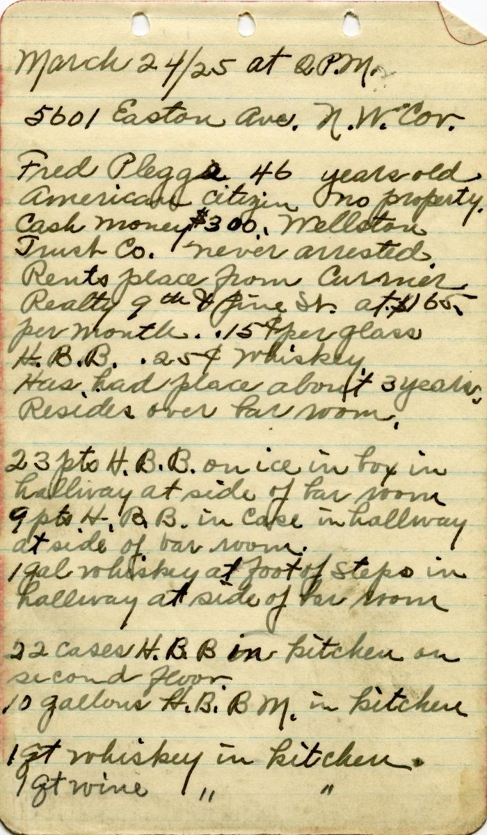 Scan of note from one of Prohibition agent Paul Toelle's raids