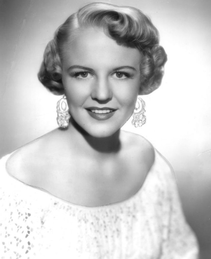 Black-and-white photo of Peggy Lee