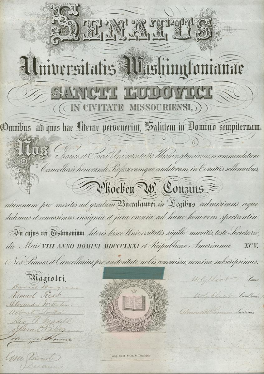 Scan of Phoebe Couzins's diploma from Washington University School of Law