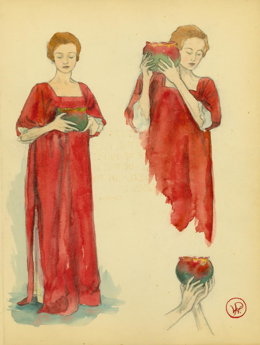 "Color illustration of a woman holding an urn from March 1905 issue of ""The Potter's Wheel"""