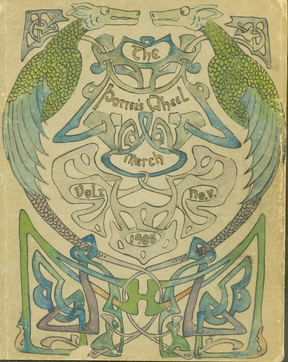 "Hand-drawn cover of the March 1905 issue of ""The Potter's Wheel"" showing two blue and green dragons"