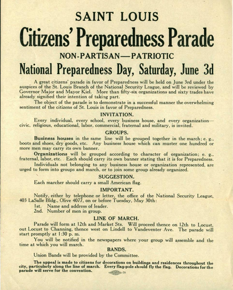 Flyer promoting National Preparedness Day on June 3, 1916