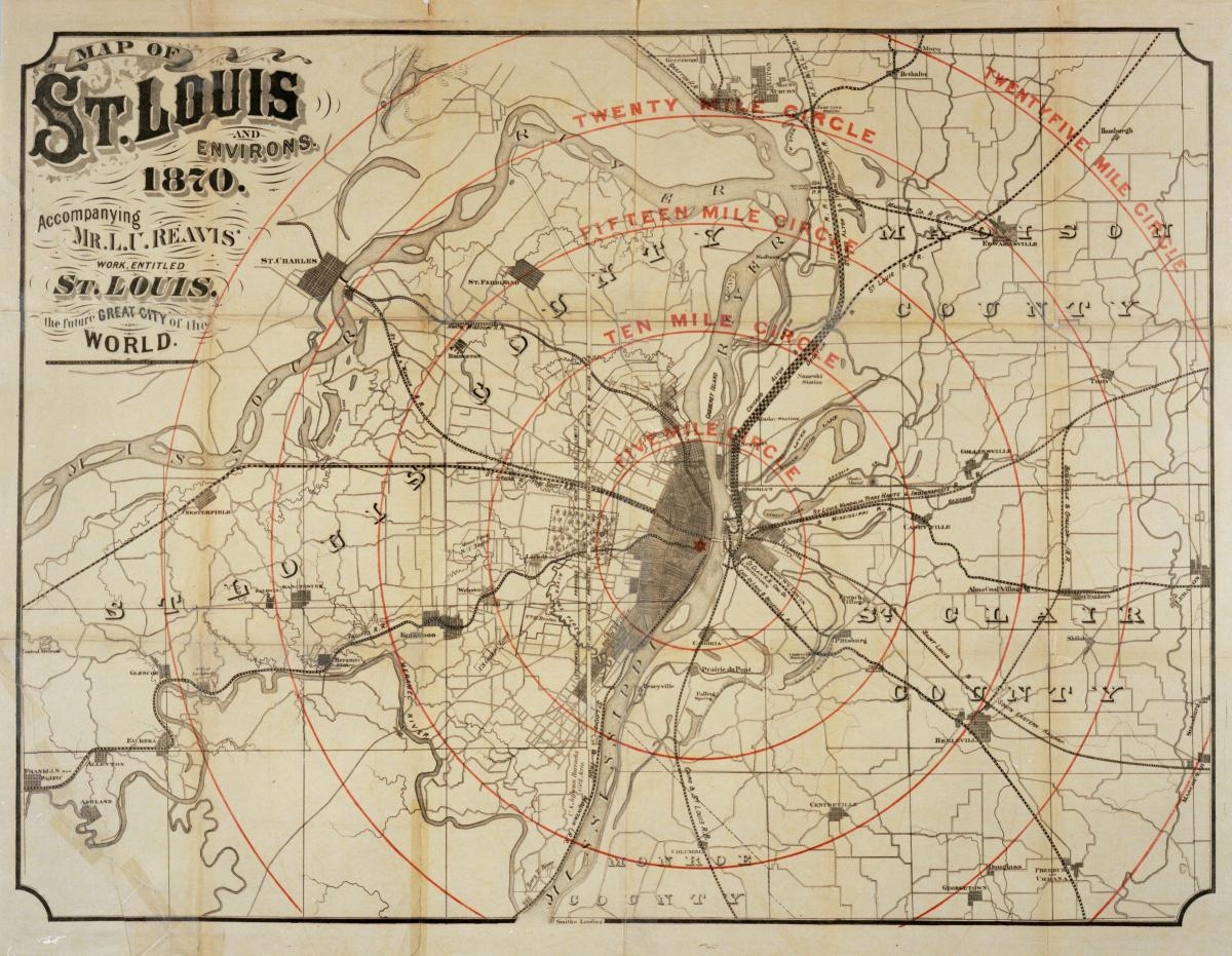 Color scan of map showing St. Louis and its environs in 1870