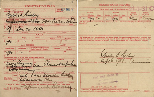 WWI draft card for Branch Rickey