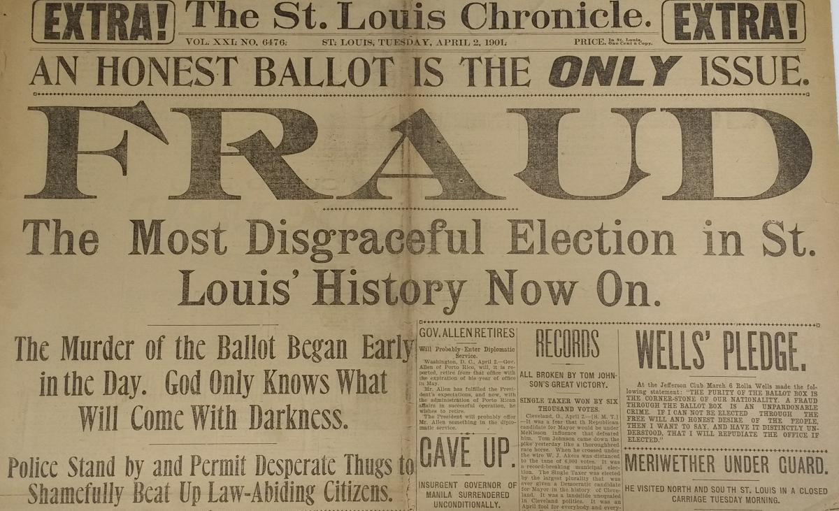 "Scan of first ""St. Louis Chronicle"" headline from April 2, 1901"