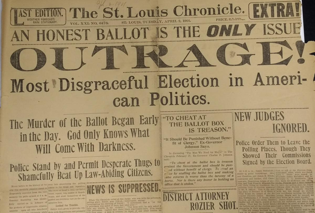 "Scan of third ""St. Louis Chronicle"" headline from April 2, 1901"
