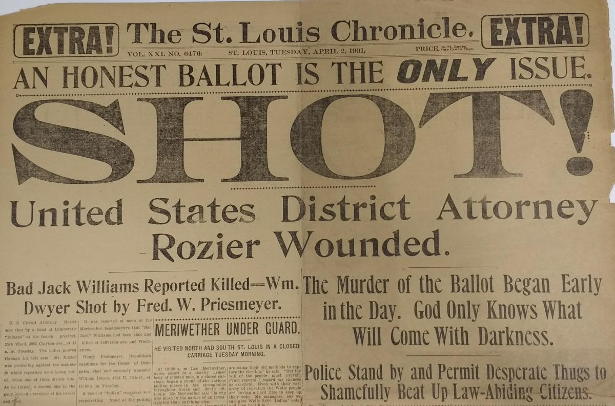 "Scan of second ""St. Louis Chronicle"" headline from April 2, 1901"