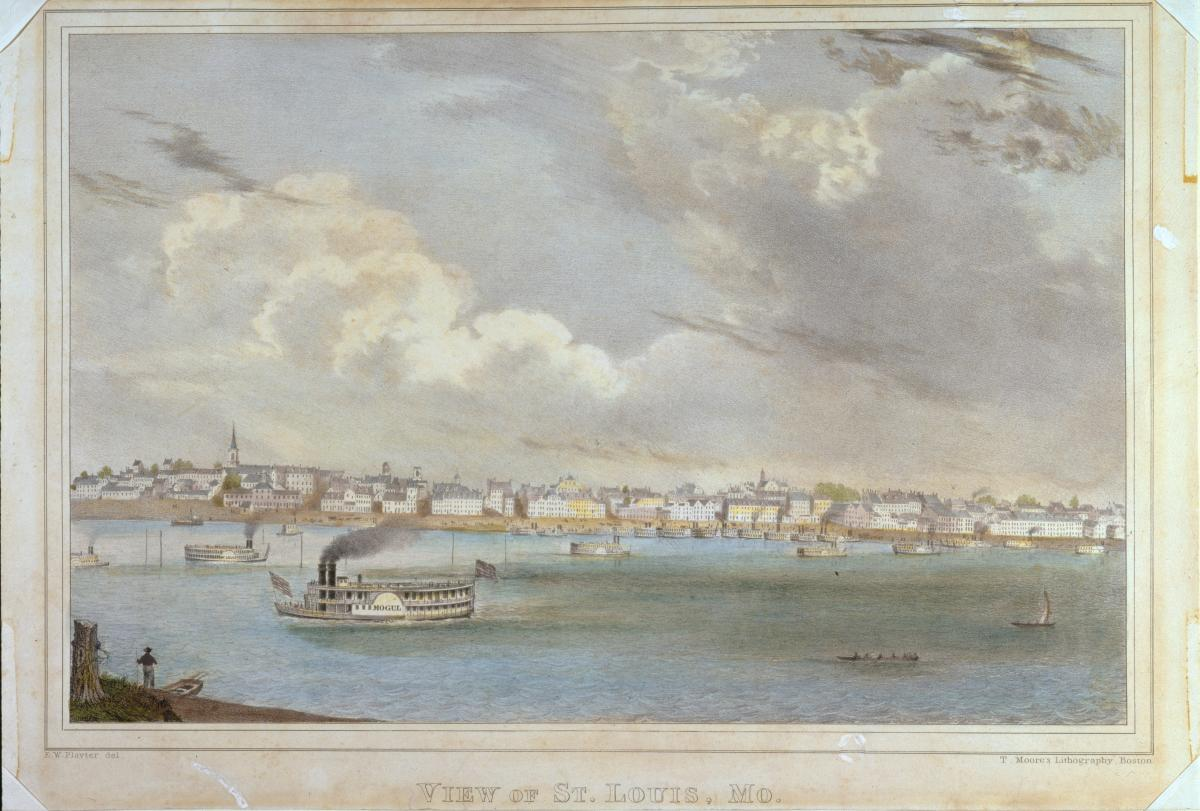 Hand colored lithograph showing view of St. Louis from across the river