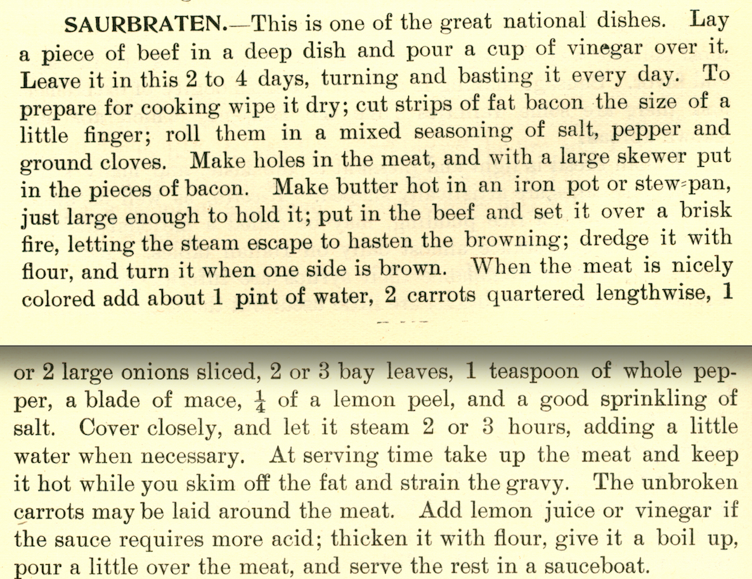 Scan of a sauerbraten recipe from 1900