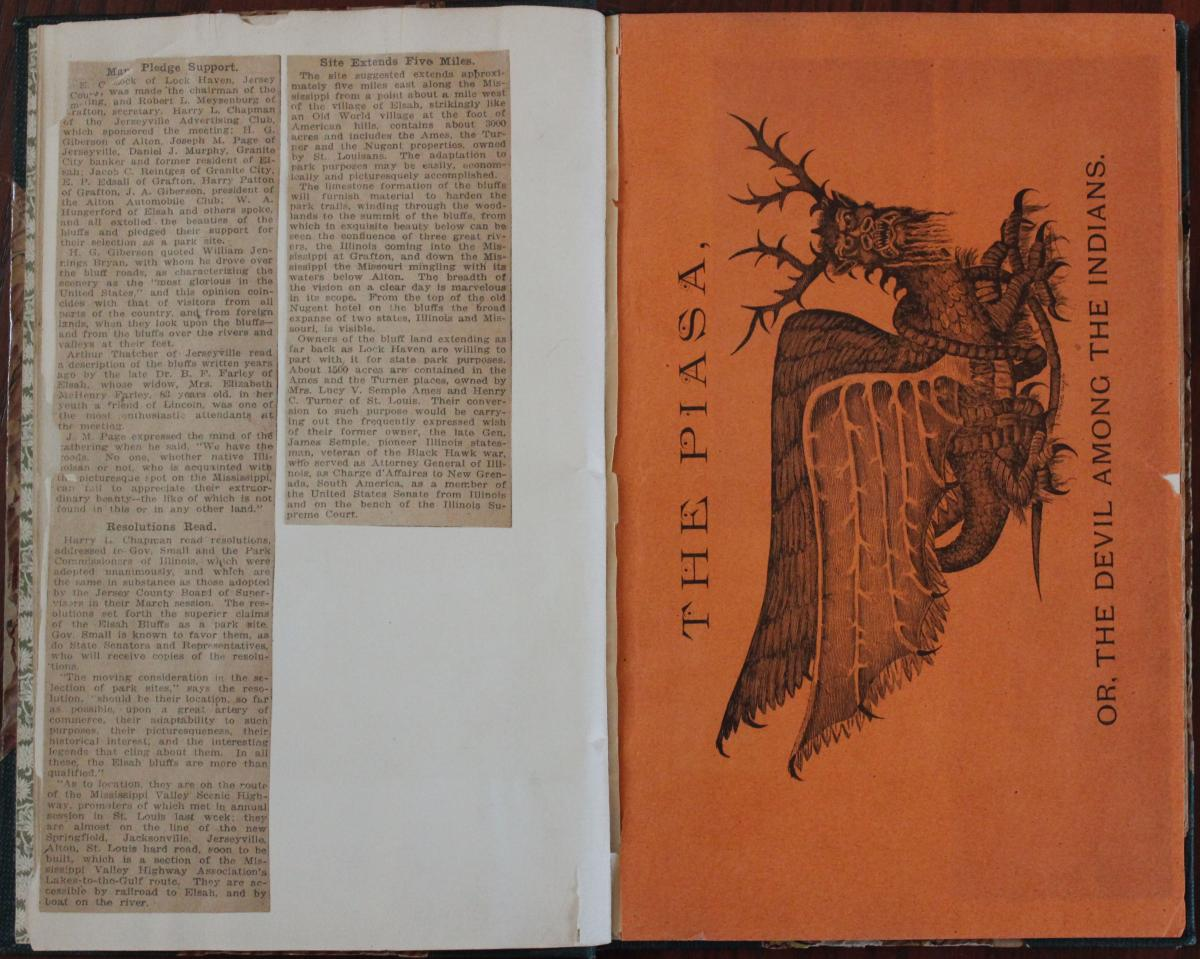 Newspaper clippings and The Piasa book cover