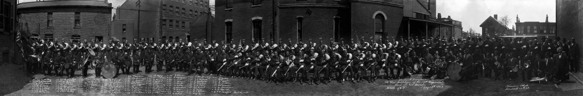 Panoramic photo of the Odd Fellows Band, 1923