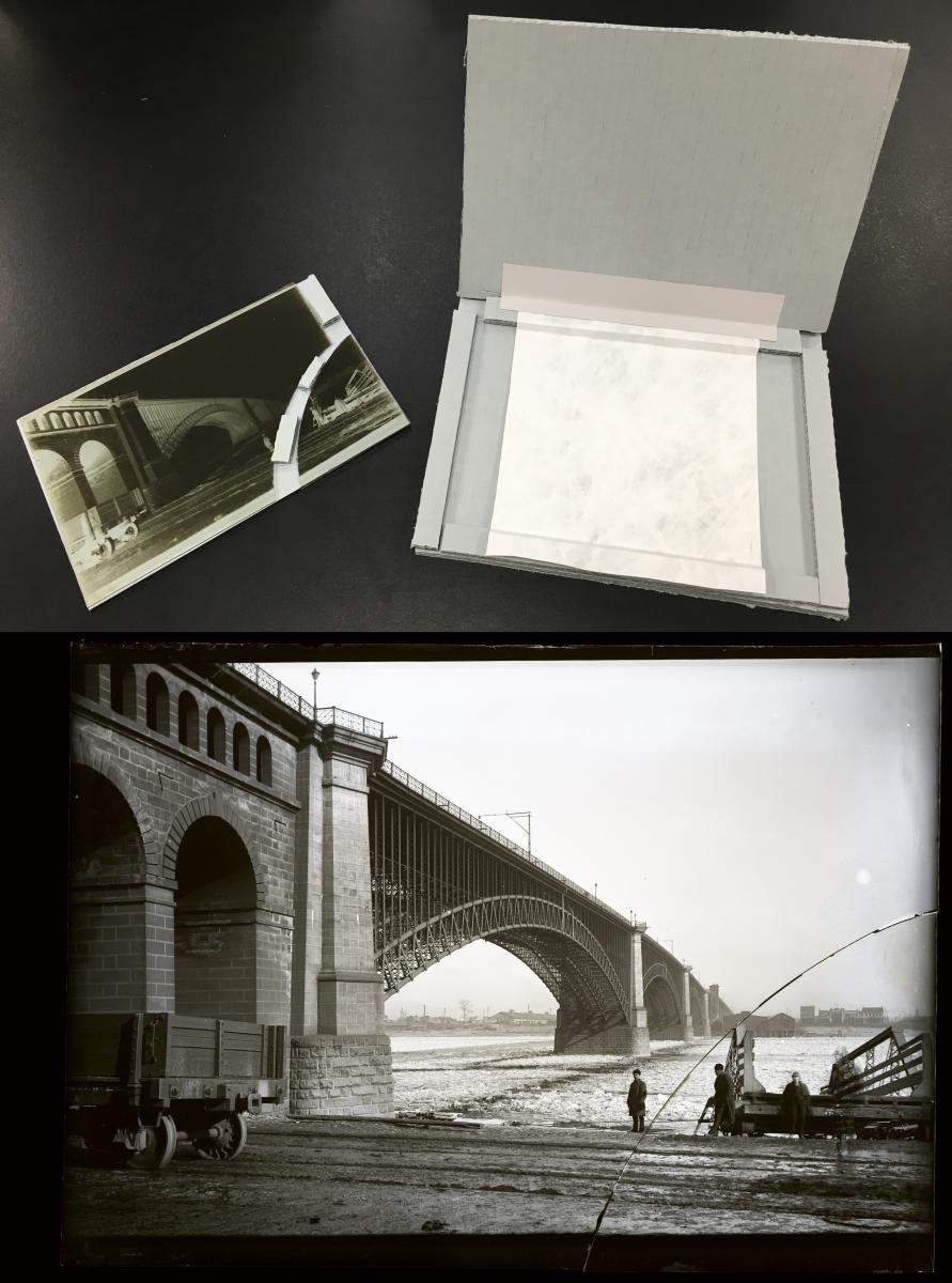Photo of sink plate and cracked glass negative