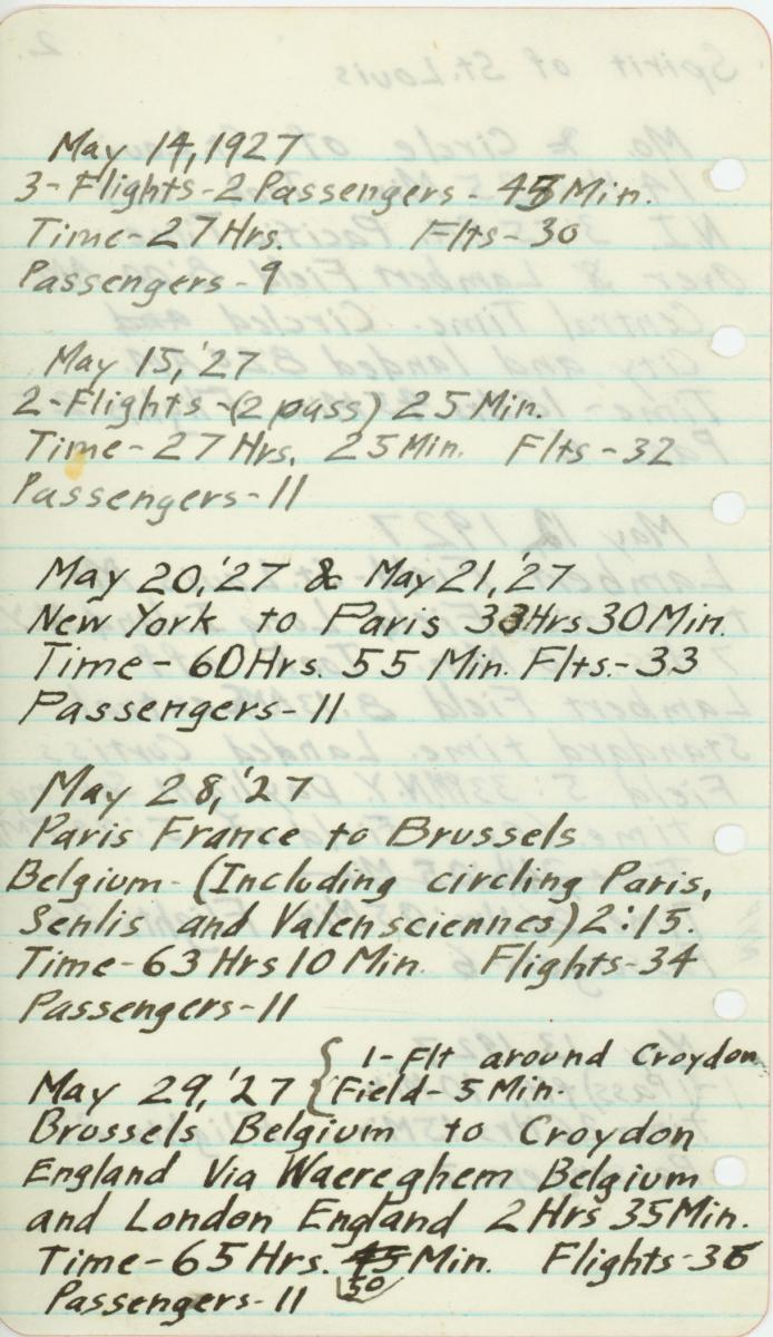 Scan of logbook from the Spirit of St. Louis