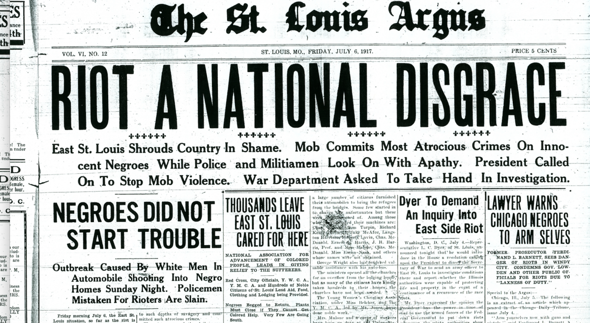 Front page of the St. Louis Argus newspaper on July 6, 1917.