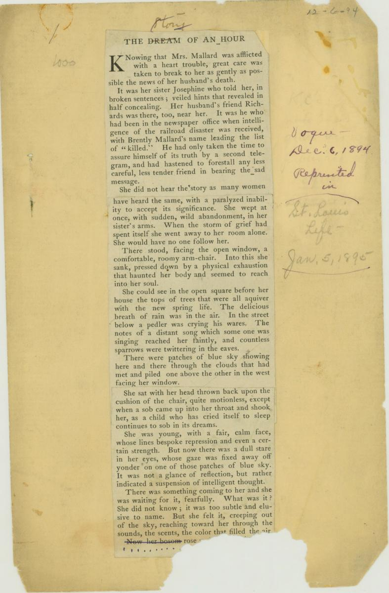 "Scan of the printed short story ""The Dream of an Hour"" written by Kate Chopin and published in Vogue magazine in 1894"