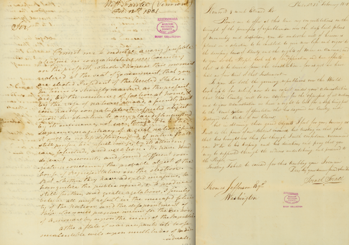 Digital copies of letters from Jefferson supporters congratulating him on winning the presidency