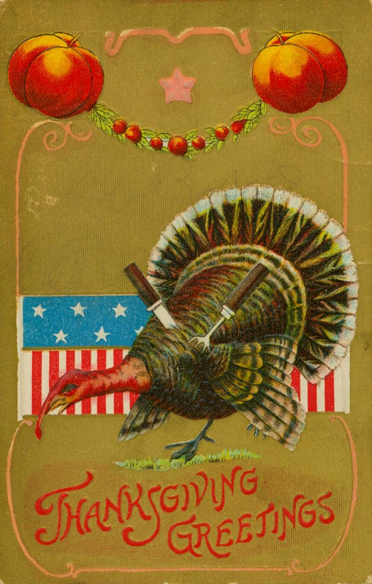 Scan of early 1900s Thanksgiving postcard