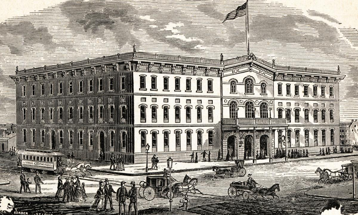 Wood engraving of City Hall at 11th and Market streets