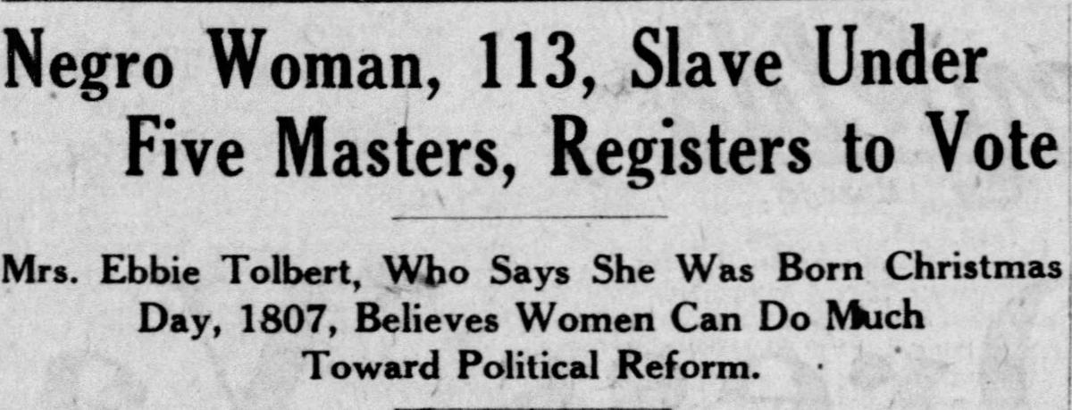 Screen shot of headline from September 15, 1920, article in the St. Louis Star and Times