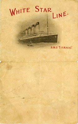 Stationery from the <em />Titanic.