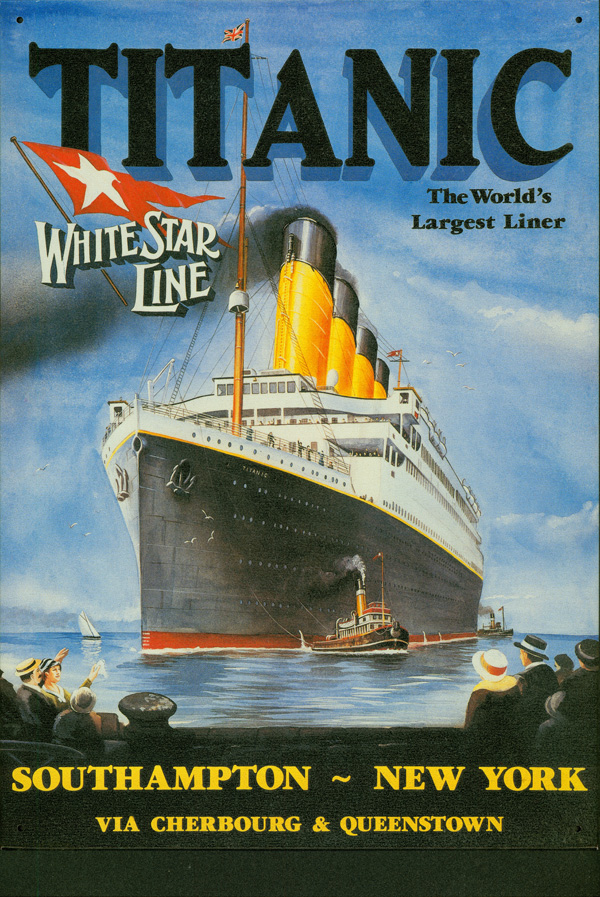 Reproduction of poster announcing <em />Titanic sailing, from exhibition in Memphis in 1997.