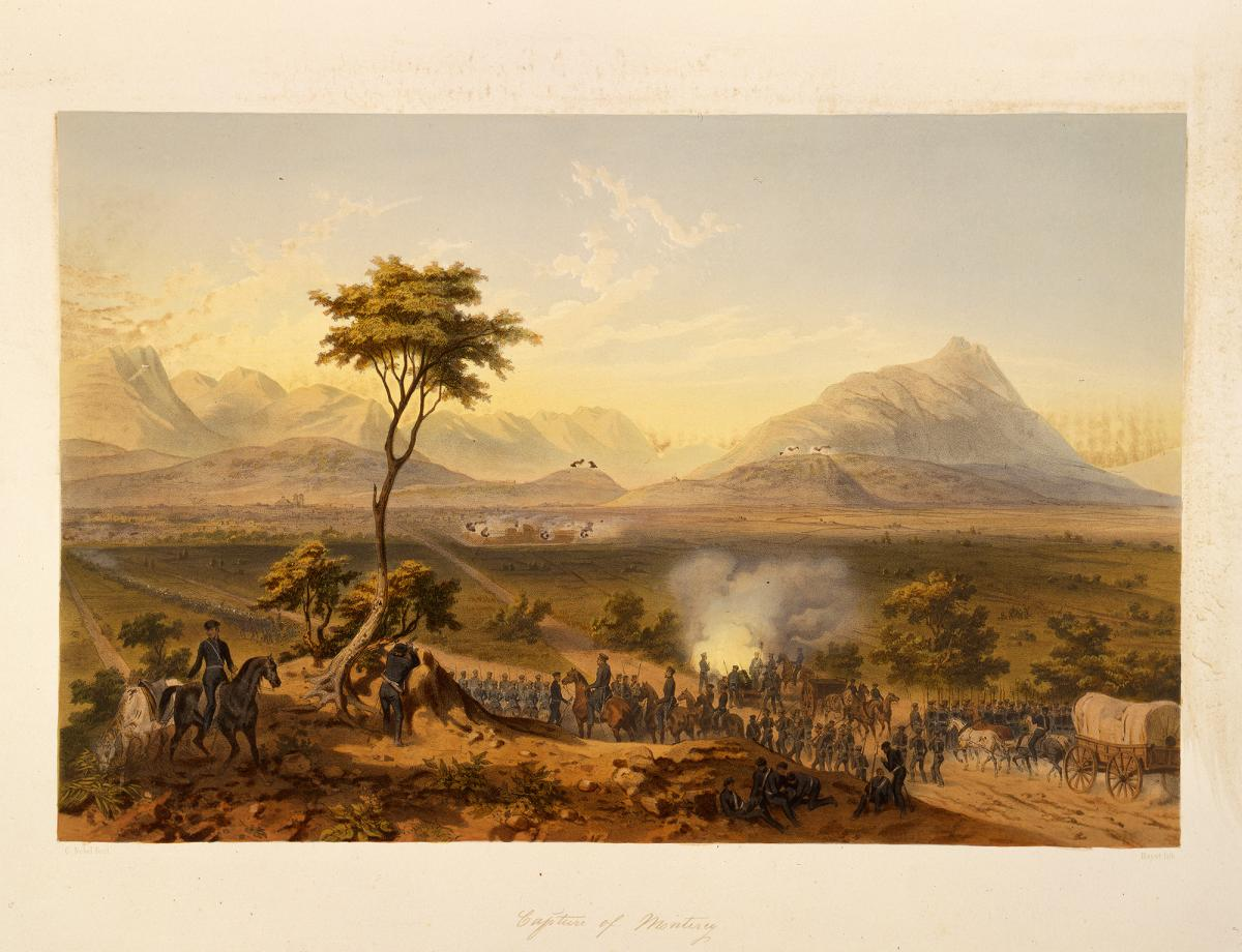 "Color image of a lithograph of the painting ""Capture of Monterrey"""