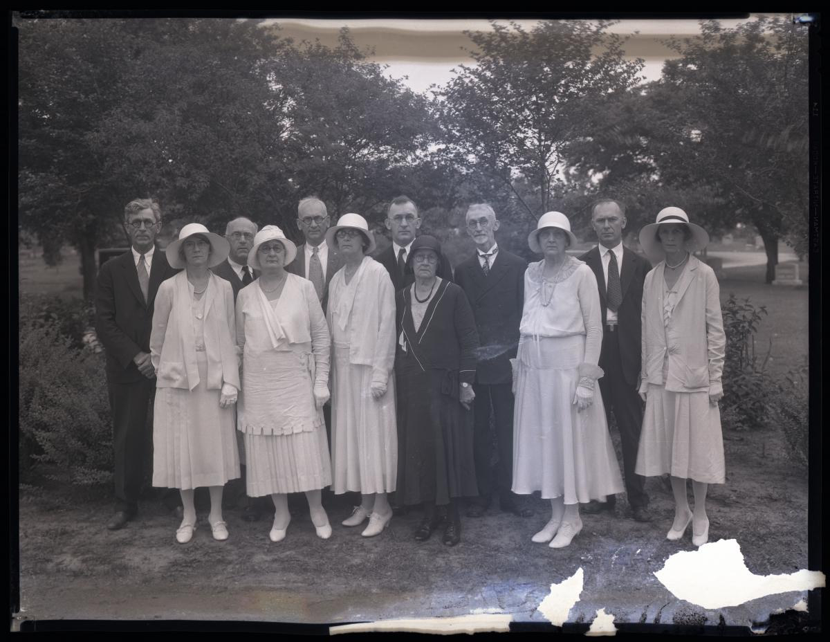 Black-and-white photo of family at Valhalla Cemetery