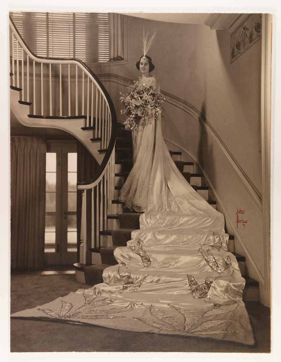 Sepia-toned photograph of the 1937 Queen of Love and Beauty, Nancy Lee Morrill