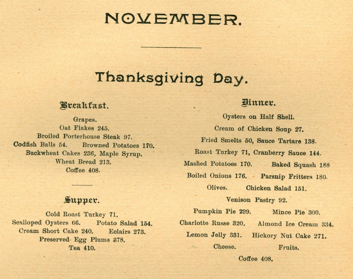 Scan of Thanksgiving menu from The White House Cook Book, 1890