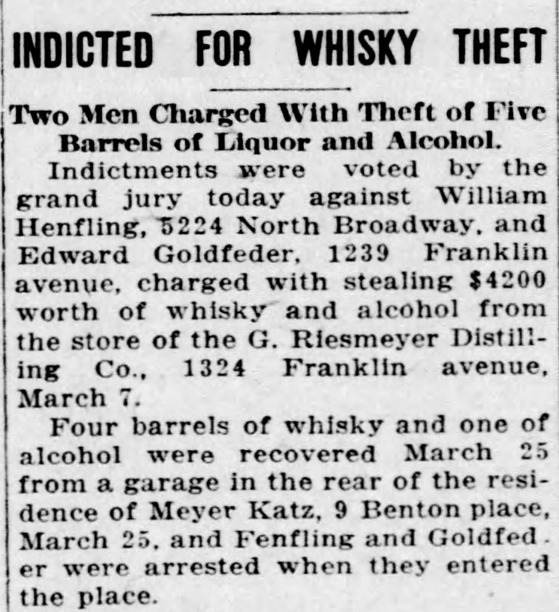Scan of news article about whiskey theft
