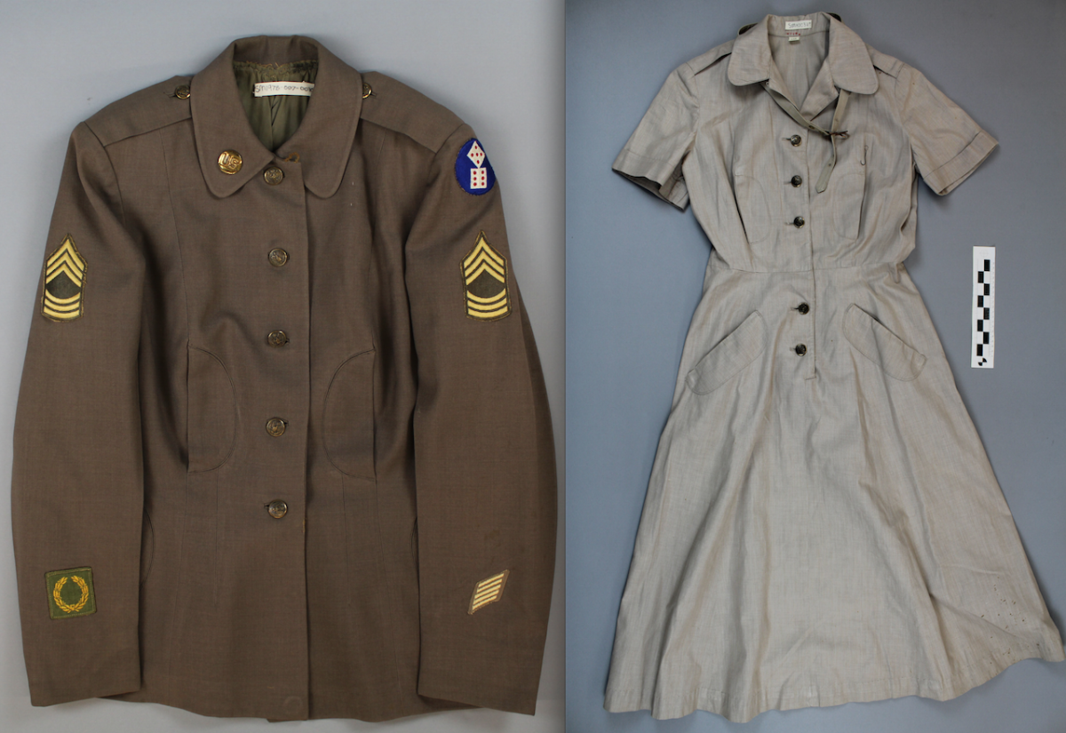 Color photo of two parts of a Women's Army Corps uniform