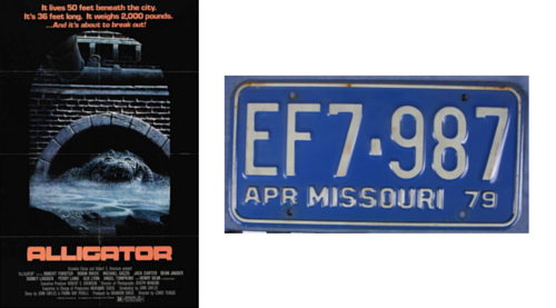Alligator movie poster with image of a 1979 Missouri license plate