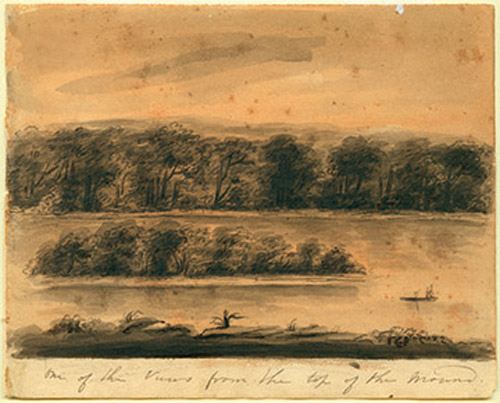 Watercolor drawing of Bloody Island in 1818