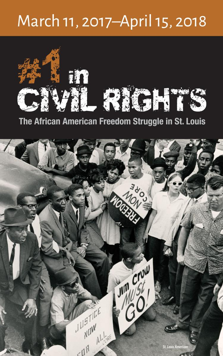 "Color graphic featuring ""#1 in Civil Rights"" exhibit logo and dates"